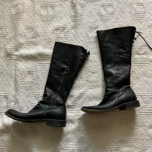 Fiorentini + Baker black leather tall leather flat boots size